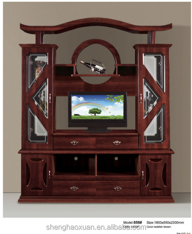 Hot selling chinese antique tv cabinet with showcase 856 for Meuble mural vitrine