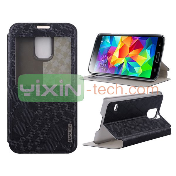 new products Display Window Side Stand Leather Case For Samsung S5 case