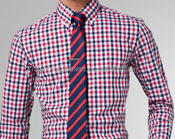 men 39 s spring high quality red and blue gingham button down