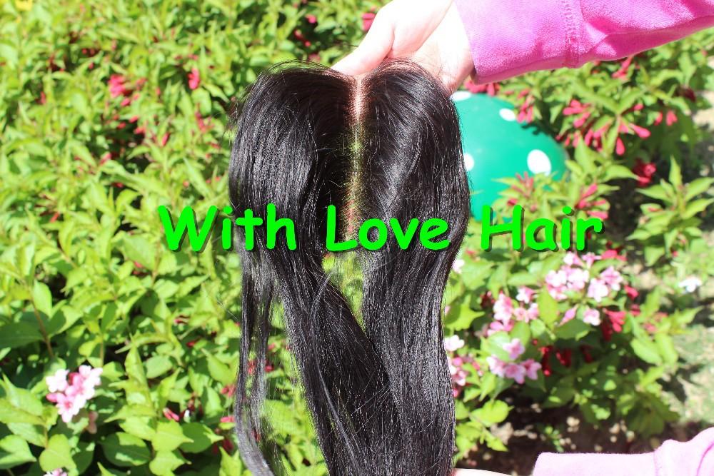 8-20 дюймовый 4 * 4 дюйма средней части кружева закрытие перуанский натуральные волосы прямо верхнюю часть
