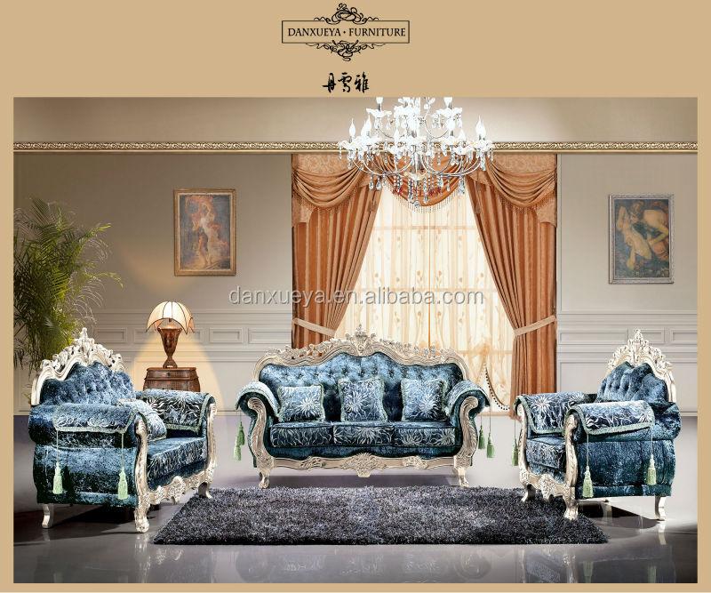 Meubles de salon classique cadre en bois massif canapé en tissu ...