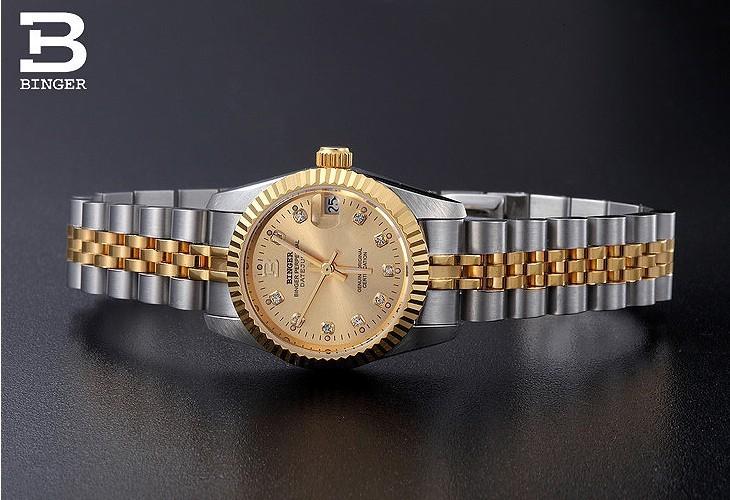 Бингер Оригинальный Дизайн Женщины автоматические часы Водонепроницаемые сапфир Окна полная сталь Черное Золото Дамы наручные часы часы