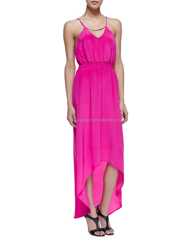 Proveedores de ropa China, alto-bajo maxi vestido en rosa, vestidos ...