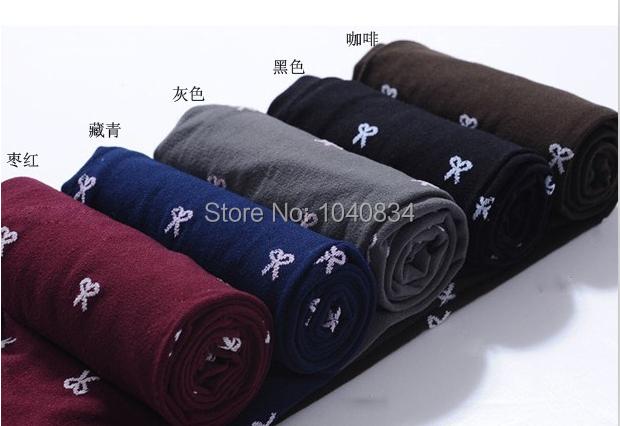 новые стильные w128 осенние женские колготки 4 цвета бант жаккардовые переплетения бархат Колготки и розничная торговля