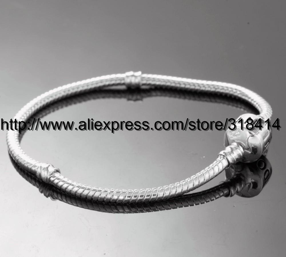 Ожерелье + браслет набор 925 серебряные пластины 3 мм змея цепочки подходят бусы Мурано очарование цепочки для Пандоры
