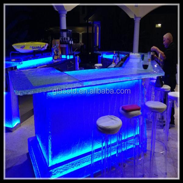 De luxe en verre comptoirs, led-lit, vendre boîte de nuit bar table de cocktail