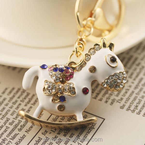 MOQ 12 pcs PayPal accepted 2014 Fashion handbag charm rhinestone crystal horse metal alloy keychain SK1445