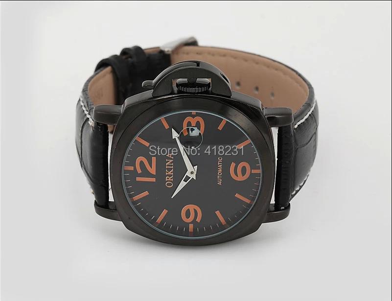 2016 человек смотреть blackcat Модные Часы Orkina Широкой Мужской Настольный Календарь Автоматические Механические Кожа Платье Часы Часы Мужчин
