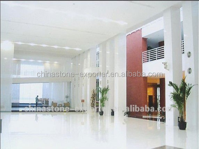 Artificial Pure White MarbleComposite Crystallized Glass Floor Tile