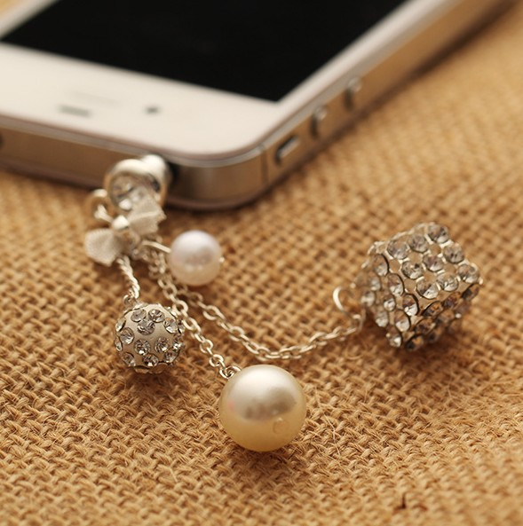 Gold Plated Alloy+Tassel Loving Heart Anti Dust Plug Earplug Jack Phone Accessories 3.5mm Wholesale Free Shipping