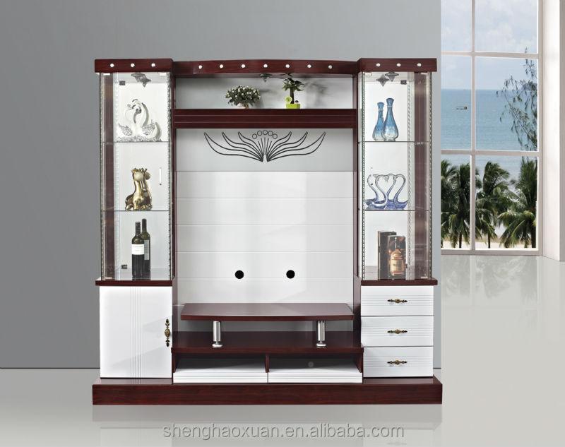 Latest design modern corner tv cabinet led tv wall unit for Lcd unit designs living room