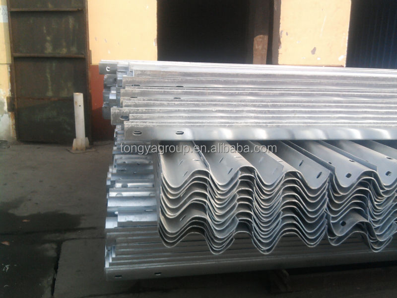 corrugated steel highway guardrail
