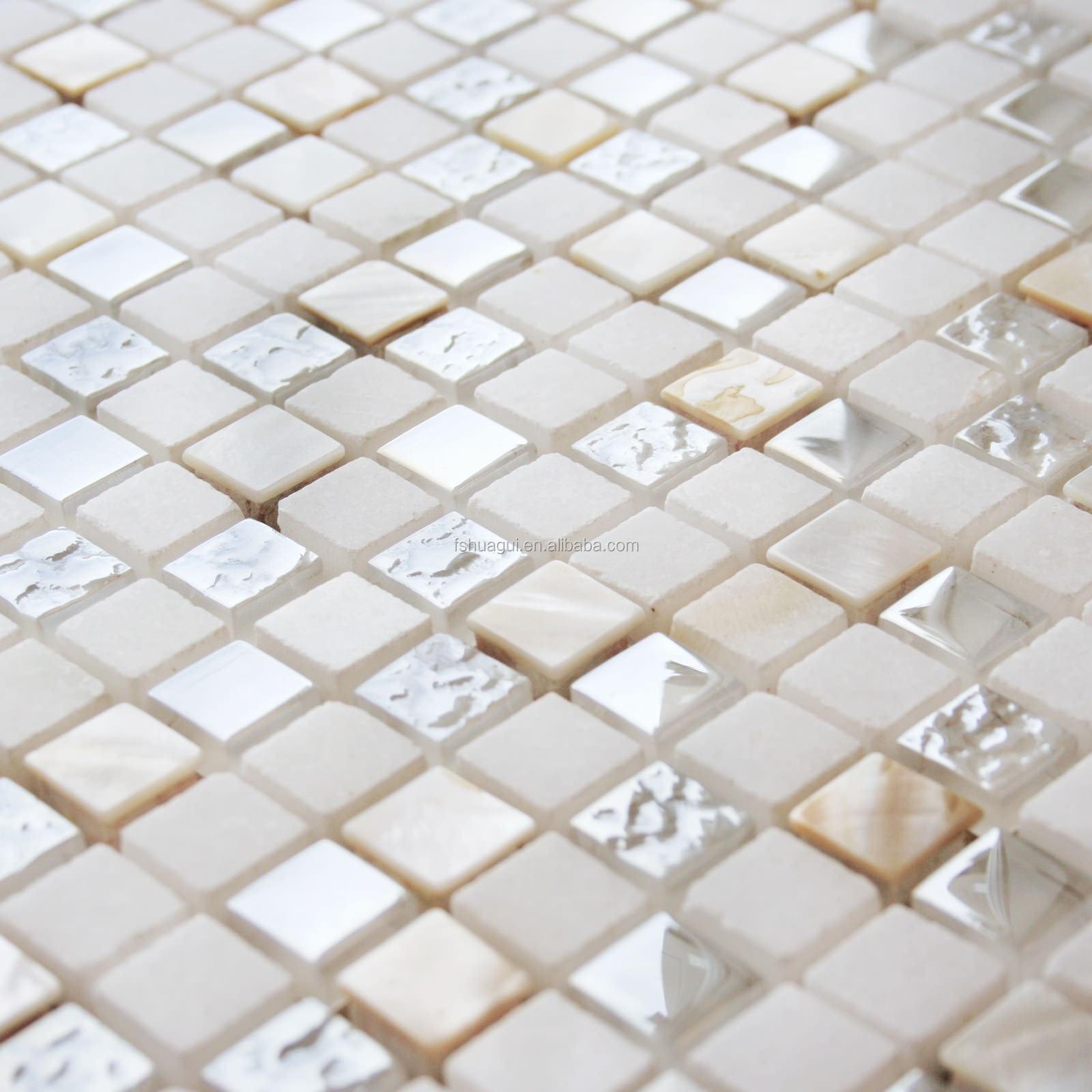 wholesale beige 15x15 8mm marble shell glass mosaic tile for wall backsplash decoration. Black Bedroom Furniture Sets. Home Design Ideas