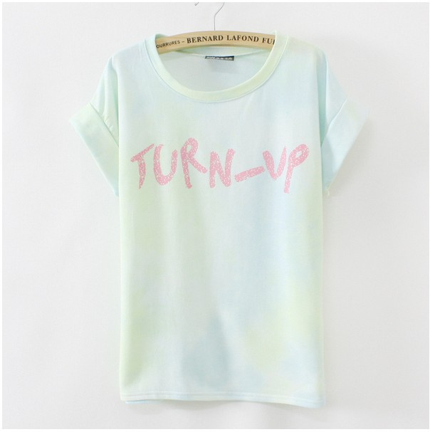 HOT new 2014 Gradient colors women graffiti cotton t shirt good quality summer short sleeve casual t-shirt  free shipping