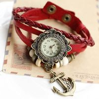 Наручные часы dropship fashion braided handmade cartoon anchor quartz watch ladies leather