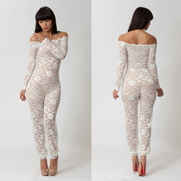 Wholesale-Long Sleeve Justsuit,Sexy Lace Black And White Jumpsuit ...