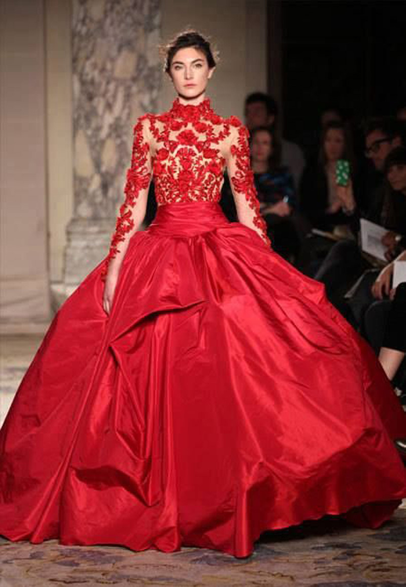 Red Ball Gowns With Sleeves