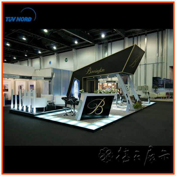 Exhibition Stand Reception Desk : Wooden exhibition booth with fair reception desk for trade