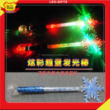LED Flashing Snowflake Wand Custom Light Up Glow Snowflake Stick Christmas Llights LED Stick For Gifts