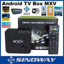 new arrival Quad Core Smart Google MXV S805 android tv box 1gb ram 8gb rom Kodi installed lifetime free English channels