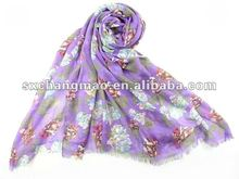 long style viscose scarf with fashion flora printed