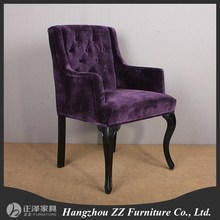 Solid Birch Wood Upholstered purple velvet Armchair