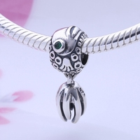 European 925 Sterling Silver Angel Fish Charm Jewelry With Blue Crystal Floating Tail Charms Beads For Bracelets DIY Gift