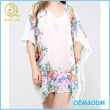 The new 2015 tropical printed sexy beach dress Summer v neck relaxed kaftan dress
