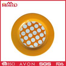 Round shape yellow polka dots print plastic melamine cookie mini plate