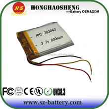 HHS-703040 rechargeable li-ion polymer battery pack 3.7v 800mah