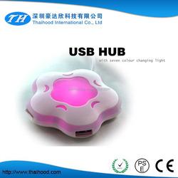 7 colors night light plum blossom flower usb hub