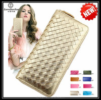 RFID material top grade woven genuine leather women wallet