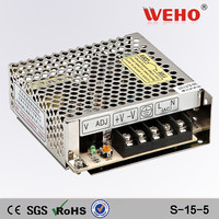 15W 5V 3A CE Rohs metal box power supply cctv led driver power supplier