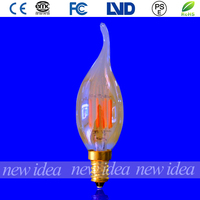 UL certifications golden color vintage decorative bulb, led candle bulb with tail C35 3W E12