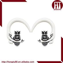 HT White UV Acrylic Owl Claw Pincher Ear Gauge Expander Stretcher Swirl Spiral Plugs Taper Piercing Body Jewelry