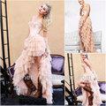 Frete grátis!!! Cy086 em camadas de tule com cercadura traseira curta longa noite pena vestido vestido de baile 2013