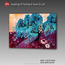 Modern colourful abstract tree handmade oil painting