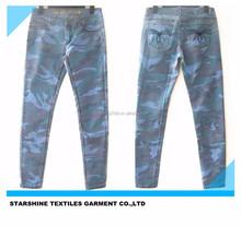 new arrival camo print knit denim fabric skinny leg jean pant(L095)
