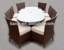 2015 popular wicker outdoor oval glass dining table