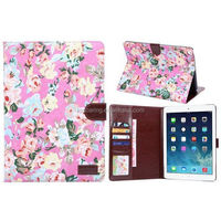 fancy wallet case pouch bag for ipad 6, leather case for ipad 6 flower design