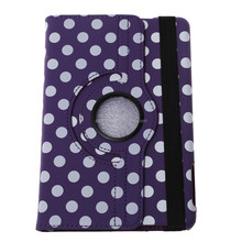 Hight Quantity 360 Rotating Flip Leather Wave Point Rock Case Cover for iPad Mini 1/2/3 (Purple)