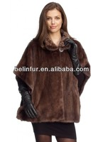best quality lady's mink fur coat/ mink fur poncho 14D77