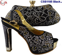 CSB1185 different colors Elegant fashion woman shoes matching bag with crystal for party Christmas shoes