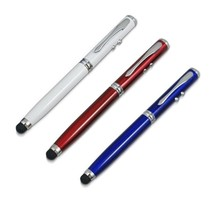 4 in 1 Capacitive Stylus Styli and Ball Point Pen with Red Laser Presentation Pointer and LED Torch Light