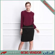 Venta al por mayor encargo elegante moda blusa de seda para mujeres
