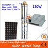 Deep well 120W Solar Powered Water Pump with high deep motor for agriculture irrigation and fountain