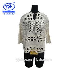 Yjc18339 nuevo diseño de la oferta china de alta calidad de algodón bordado de encaje ladies' 2014 blusa