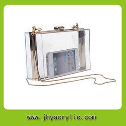 Transparent clear acrylic clutch bag display box clutch for women