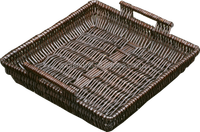 wicker basket and trays