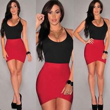 Stylish lady women's o-neck sleeveless black and red color combination two color evening dress sv020937